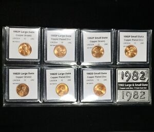 1982 P+D Lincoln Cent Seven Coin Small and Large Date Penny Set - BU