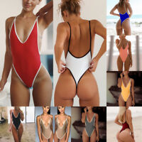Women One Piece Monokini High Cut Thong Summer Backless Swimsuit Bikini Swimwear