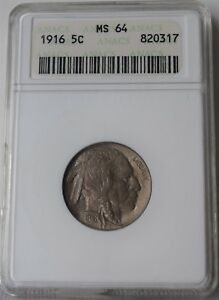 """1916 Buffalo Nickel """"ANACS MS64"""" *Free S/H After 1st Item*"""