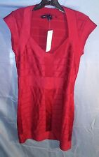 French Connection Mini Bandage Dress V-Neck Cap Sleeve Red sz 10 NWT