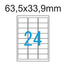 4800 Papier Etiketten selbstklebend 63 5x33 9 Mm 200 Blatt A4