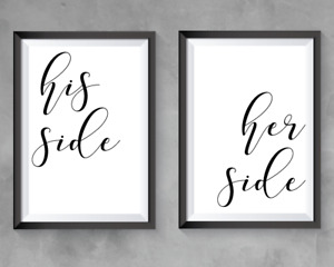 His Side Her Side Black Text Wall Art Home Decor Wall Art Set of 2 Prints A4