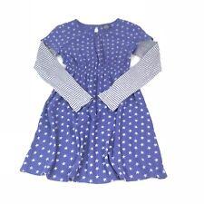 Mini Boden Kids Girls Youth 11- 12 Purple White 100% Cotton Stars Striped  Dress