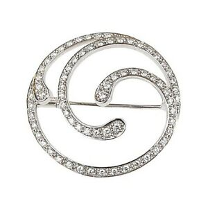 1.62ct Natural Round Diamond 14k Solid White Gold Brooch Pin