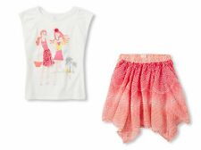 Children's Place Pink Pleated Sleeve Embellished Top & Printed Skirt Size XS 4