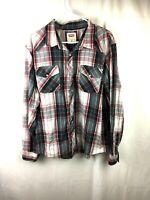 Levis Mens Red Gray Plaid Button Up Shirt Size XL