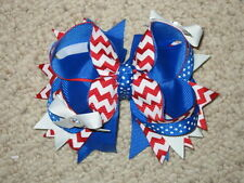 "NEW ""Americana Chevron"" Hairbow Grosgrain Ribbon Hair Bow Girls 4th of July"