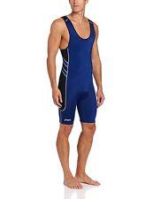 ASICS Unrestrained Wrestling Singlet Uniform Mens Adult JT1154 Size: 3XS Blue