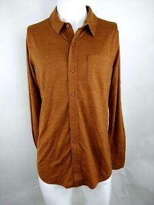 Smartwool Men Merino Sport 150 Long Sleeve Button Up Top Acorn Medium 17349-G37