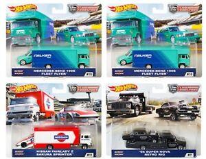 2019 Hot Wheels Car Culture Team Transport Case D Set of 4, 1/64 Cars FLF56-956D