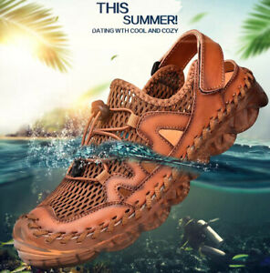 Men Outdoor Sandals Mesh Breathable Flat Casual Shoes Slingback Sneakers Comfort