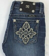 Miss Me Women's Cropped/Capri Denim Jeans w Gem Studded Cross Pkts 25 x 21.5 EUC