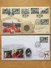 GEOFF HURST & MARTIN PETERS HAND SIGNED 1966 WORLD CUP FIRST DAY COVERS - COA