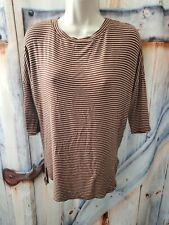 Peyton Jensen size XS Top women's Adobe Brown striped 3/4 banded sleeve shirt