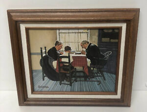 """Norman Rockwell """"Family Grace"""" Canvas Repro Print 1997 Rockwell Gallery w/ COA"""