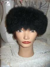 "fit size 22.5""inches men women opossum fur hat top Green Material"