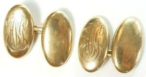 "Antique Art Deco Vintage Cufflinks Initial HVG 14K Yellow Gold Estate .74""x .40"""