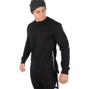 Mens Sweater Side Zipper Workout Casual Running Baggy Long Sleeve Sweatshirt
