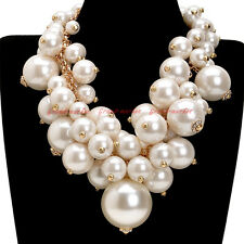 Chunky Choker Statement Pendant Bib Necklace Fashion Gold Chain Big Resin Pearl