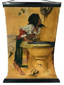 Roman Girl At Fountain Vintage Reproduction Painting Canvas Oil 40.5 x 26 Signed