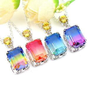 Rectangle 4 pcs 1 Lot Bi Color Tourmaline Gemstone Silver Necklace Pendants Sets