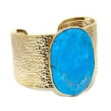 """ELEMENTS BY NEST GOLDTONE TURQUOISE COLOR-HOWLITE 7-1/2"""" CUFF BRACELET HSN"""