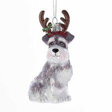 Schnauzer w/Antlers Noble Gems Glass Ornament