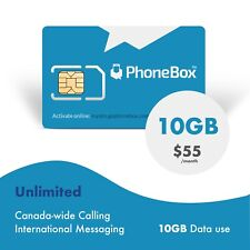 Phonebox Canadian prepaid SIM card | Unlimited talk, text, and 10GB of LTE Data
