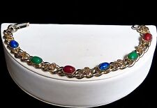 Vintage Faux Gemstone Cabochons Saw Tooth Setting and Heart Chain Link Bracelet