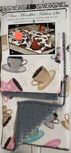 3pc Kitchen Microfiber Set: Drying Mat & 2 Towels Set(16x19) COFFEE CUPS,grey,BH