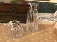 Vintage Lot of 2 Atlantis Silver Plate and cut crystal candle sticks Portugal
