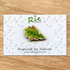 Wooden Oak Leaf Brooch, Badge, Pin Wildlife Nature Gift