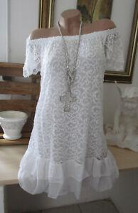NEU Tunika Mini Kleid Lagenlook Ibiza Hippie Spitze Weiß Carmen Volant 36-40