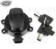 Black Ignition Switch with Round Key Harley Road King, Dyna, Softail Late Model