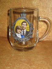 Princess Diana & Charles Glass Mug Cup 1981 Marriage Wedding Collectible