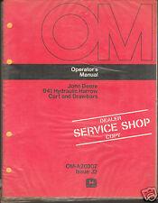 John Deere Tractor 941 Harrow Cart & Drawbar Operator Manual Shop Dealer Copy ^