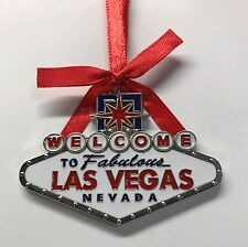 Las Vegas Welcome Sign Holiday Christmas Hanging Tree Ornament Red Blue