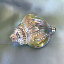 Iridescent Silvestri Conch Seashell Art Glass Paperweight