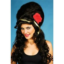 Black Ladies Beehive Wig With Rose - Amy Winehouse Fancy Dress Red Costume