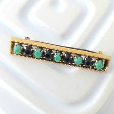 New listing Vintage Bar Brooch Art Deco Style Lapel Pin Minimalist Jewellery Green Beads