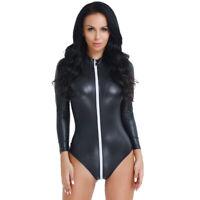 Reizvoller Faux-Leder Damen Body Wetlook Jumpsuit mit Zip Overall Reizwäsche