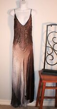 WOMEN'S ELEGANT BEADED MOCHA EVENING GOWN by SUE WONG~SIZE 6 Hand Sewn blk label