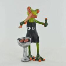 More details for comical frogs bbq chef small resin figurine great for home gift