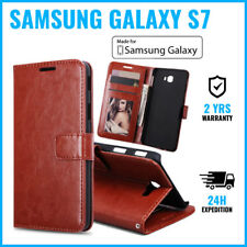 Wallet Flip Case Cover Cas Coque Etui Hoesje Brown For Samsung Galaxy S7
