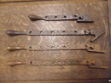 4 antique Gothic style window catches lock stays iron 4 posts ? up-cycle etc 10T