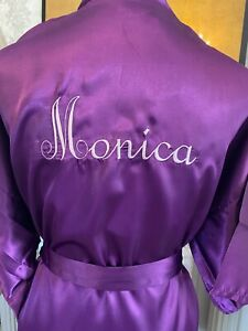 Satin robe ANY NAME embroidered satin personalised dressing gown ALL COLOURS