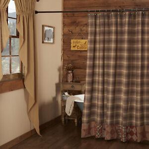 VHC Brands Rustic Shower Curtain Brown Rod Pocket Patchwork Dawson Bath Decor