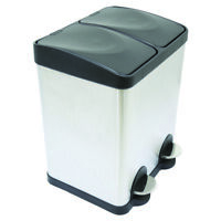 Charles Bentley Pedal Bin Made of Stainless Steel with 2 Compartment 30 Ltr