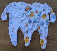 2 x M&S Baby Boy Girl White Blue Orange & Yellow Babygrows Sleepsuits 0-1 Month