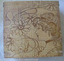 Antique Art Nouveau Gibson Girl  Woman Wood Flemish Art Pyrography Box Case NICE